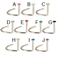 Jeweled nose screw, 20 ga