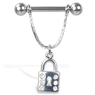 Nipple ring with jeweled dangling lock, 12, 14, or 16 ga