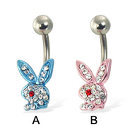 Belly button ring with blue jeweled playboy bunny