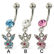 Belly button ring with dangling jeweled playboy bunny