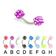 Acrylic dice eyebrow ring, 16 ga