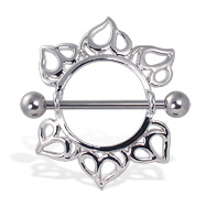 Leaf Nipple Ring, 14 Ga
