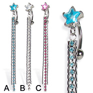 Reversed belly button ring with star and three long dangles