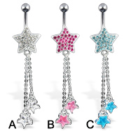 Jeweled star with dangles belly button ring