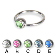 Captive bead ring with cabochon ball, 16 ga