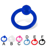 Transparent acrylic captive bead ring, 10 ga