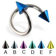 Colored cone spiral barbell, 14 ga