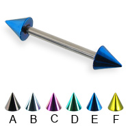 Colored cone straight barbell, 14 ga