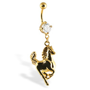 Gold Tone belly button ring with horse