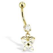 14K Yellow Gold Belly Button Ring With Dangling Butterfly