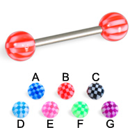 Checker tongue barbell, 14 ga