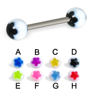Acrylic flower tongue barbell, 14 ga