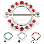 Jeweled Nipple Ring, 14 Ga