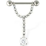 Dangling gem nipple ring, 14 ga