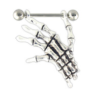 Skeleton Hand Nipple Ring, 14 Ga