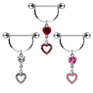 Dangling heart nipple ring, 14 ga