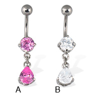 Belly button ring with dangling teardrop shaped gem