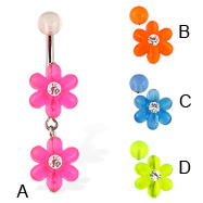 Belly button ring with two acrylic flowers