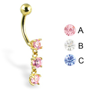 14K yellow gold belly button ring with three gems