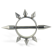Nipple ring with multiple small spikes, 12 ga
