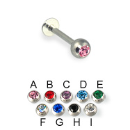 Jeweled ball labret, 16 ga