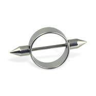 Nipple ring with spikes, 16 ga