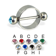 Nipple ring with jeweled balls, 12 or 14 ga