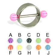 Nipple ring with beach balls, 12 or 14 ga