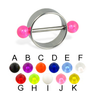 Nipple ring with UV balls, 12 or 14 ga