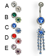 Flower with three dangles belly button ring