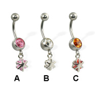 Small dangling flower belly button ring