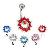 Ring of gems belly button jewelry