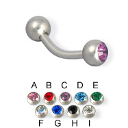 Double jeweled curved barbell, 14 ga