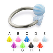 Beach ball and cone circular barbell, 14 ga