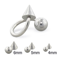 Steel ball and cone twisted barbell, 14 ga
