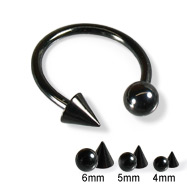 Black circular barbell with ball and cone, 14 ga