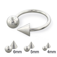 Steel ball and cone horseshoe ring, 14 ga