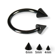 Black circular barbell with cones, 14 ga