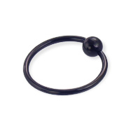 Black captive bead ring, 16 ga