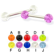 Glitter ball straight barbell, 14 ga