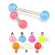 Glow-in-the-dark ball straight barbell, 14 ga