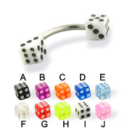 Acrylic Dice Curved Barbell,14 Ga