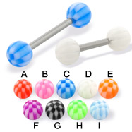 Checkered ball straight barbell, 14 ga