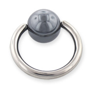 Hematite ball captive bead ring, 12 ga