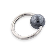 Hematite Ball Captive Bead Ring, 14 Ga