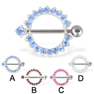 Pair Of Nipple Rings with Jeweled Barbell
