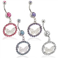 Belly ring with dangling amethyst jeweled butterfly circle