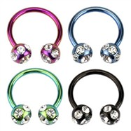 Titanium anodized Circular barbell with 7mm paved gem balls, 14 ga