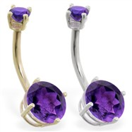 14K Gold double jeweled Amethyst belly ring