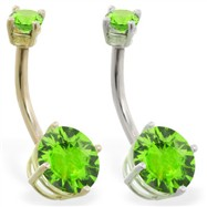 14K Gold double jeweled Peridot belly ring